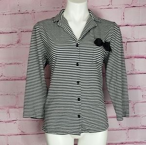 Kate Spade Striped 3/4 Sleeve Collared Top